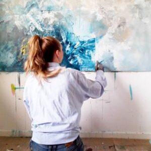 120 x 170 blåt maleri -arbejde