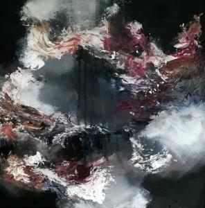 Maleri str. 50 x 50 cm sort